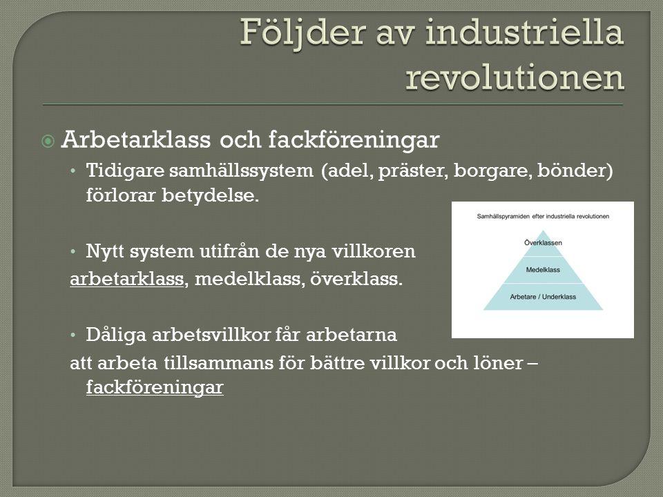  Arbetarklass och fackföreningar Tidigare samhällssystem (adel, präster, borgare, bönder) förlorar betydelse. Nytt system utifrån de nya villkoren ar