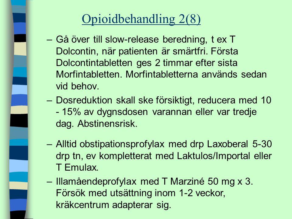 –Gå över till slow-release beredning, t ex T Dolcontin, när patienten är smärtfri. Första Dolcontintabletten ges 2 timmar efter sista Morfintabletten.