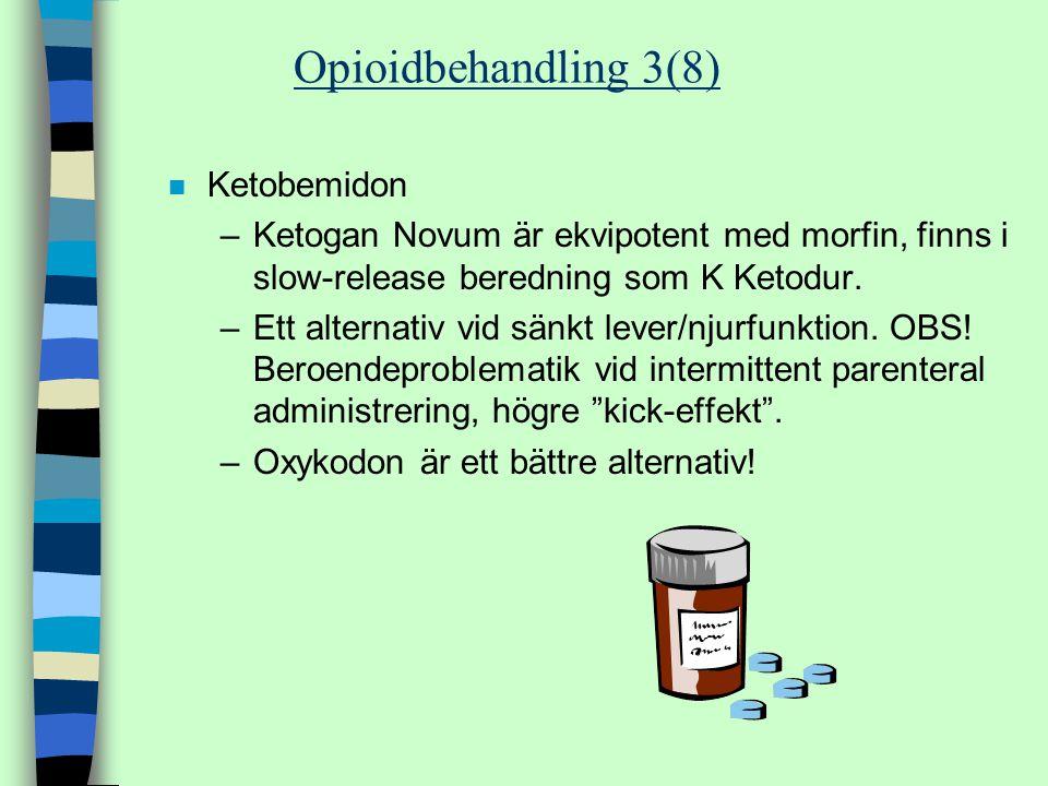 n Ketobemidon –Ketogan Novum är ekvipotent med morfin, finns i slow-release beredning som K Ketodur. –Ett alternativ vid sänkt lever/njurfunktion. OBS