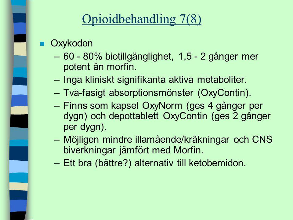 n Oxykodon –60 - 80% biotillgänglighet, 1,5 - 2 gånger mer potent än morfin. –Inga kliniskt signifikanta aktiva metaboliter. –Två-fasigt absorptionsmö