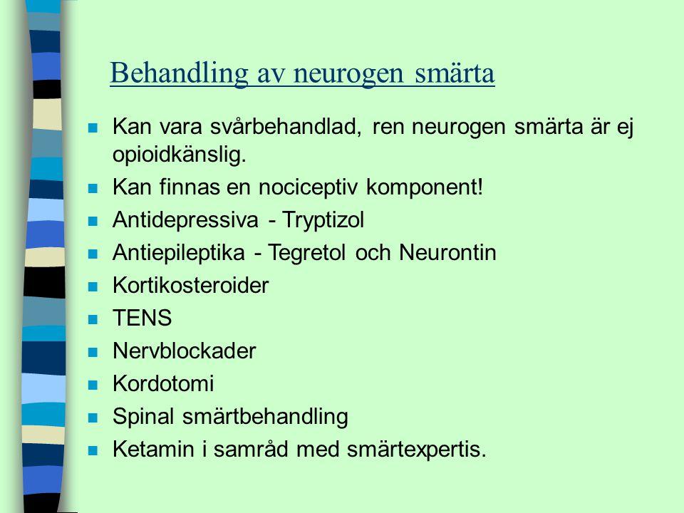 Behandling av neurogen smärta n Kan vara svårbehandlad, ren neurogen smärta är ej opioidkänslig. n Kan finnas en nociceptiv komponent! n Antidepressiv