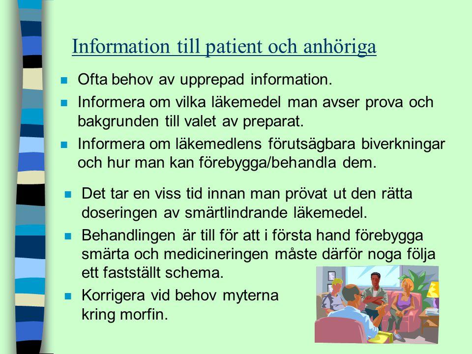 n Ofta behov av upprepad information. n Informera om vilka läkemedel man avser prova och bakgrunden till valet av preparat. n Informera om läkemedlens