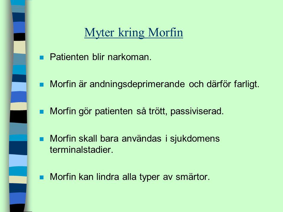 Myter kring Morfin n Patienten blir narkoman. n Morfin är andningsdeprimerande och därför farligt. n Morfin gör patienten så trött, passiviserad. n Mo
