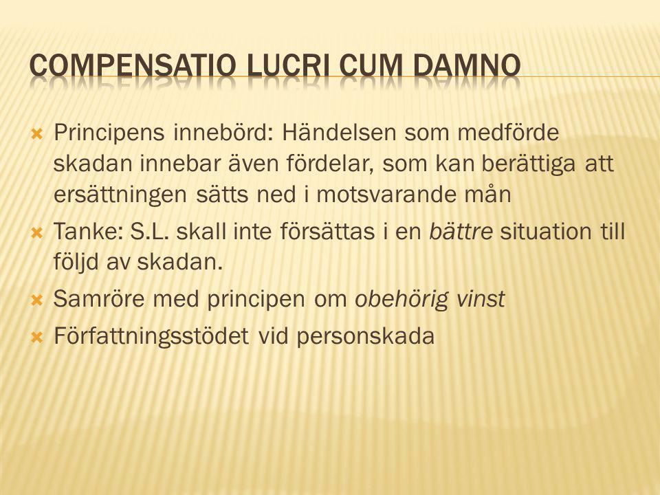  Compensatio lucri cum damno i praktiken: Enbart uppenbara fördelar torde beaktas.