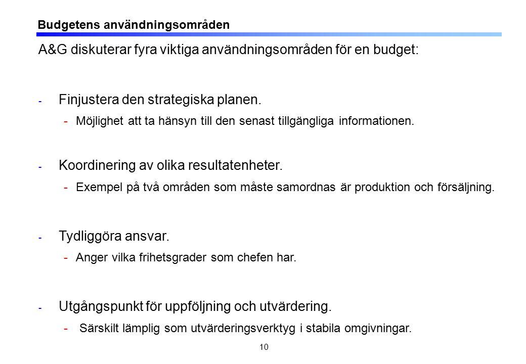 10 Budgetens användningsområden A&G diskuterar fyra viktiga användningsområden för en budget: - Finjustera den strategiska planen. -Möjlighet att ta h