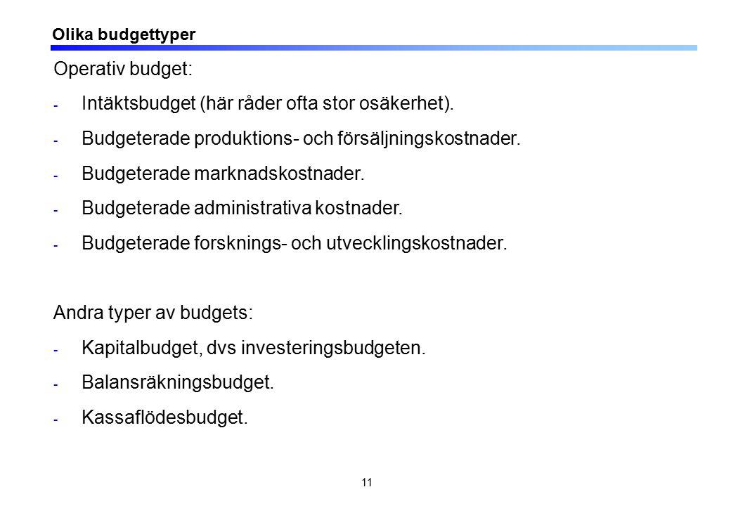 11 Olika budgettyper Operativ budget: - Intäktsbudget (här råder ofta stor osäkerhet). - Budgeterade produktions- och försäljningskostnader. - Budgete