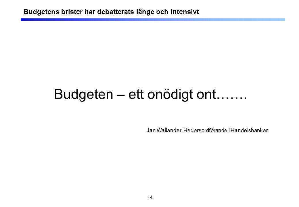 14 Budgeten – ett onödigt ont……. Jan Wallander, Hedersordförande i Handelsbanken Budgetens brister har debatterats länge och intensivt