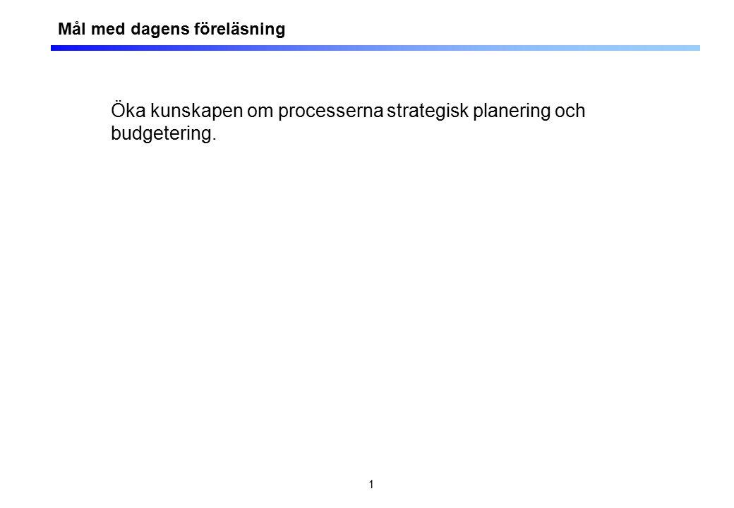 1 Öka kunskapen om processerna strategisk planering och budgetering. Mål med dagens föreläsning