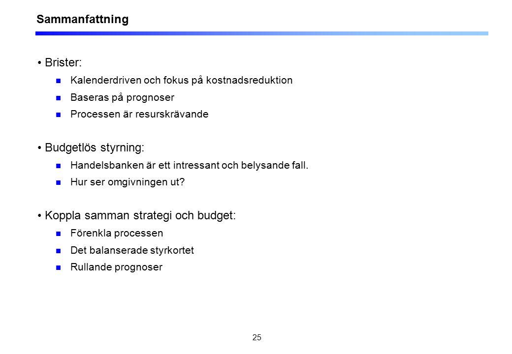 25 Sammanfattning Brister: Kalenderdriven och fokus på kostnadsreduktion Baseras på prognoser Processen är resurskrävande Budgetlös styrning: Handelsbanken är ett intressant och belysande fall.