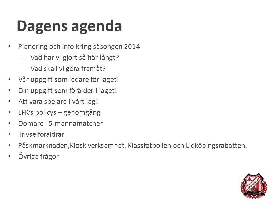Dagens agenda Planering och info kring säsongen 2014 – Vad har vi gjort så här långt? – Vad skall vi göra framåt? Vår uppgift som ledare för laget! Di