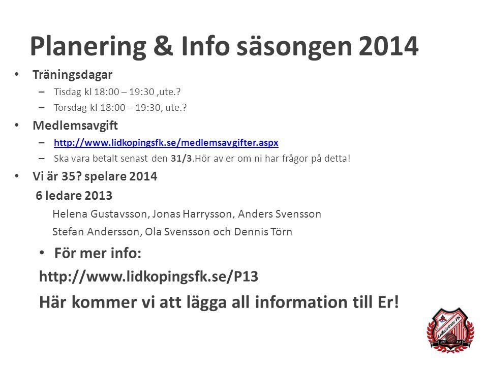 Planering & Info säsongen 2014 Träningsdagar – Tisdag kl 18:00 – 19:30,ute.? – Torsdag kl 18:00 – 19:30, ute.? Medlemsavgift – http://www.lidkopingsfk