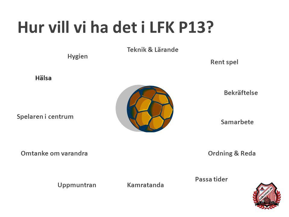 Hur vill vi ha det i LFK P13? Ordning & Reda Bekräftelse Kamratanda Rent spel Teknik & Lärande Omtanke om varandra Hälsa Spelaren i centrum Uppmuntran