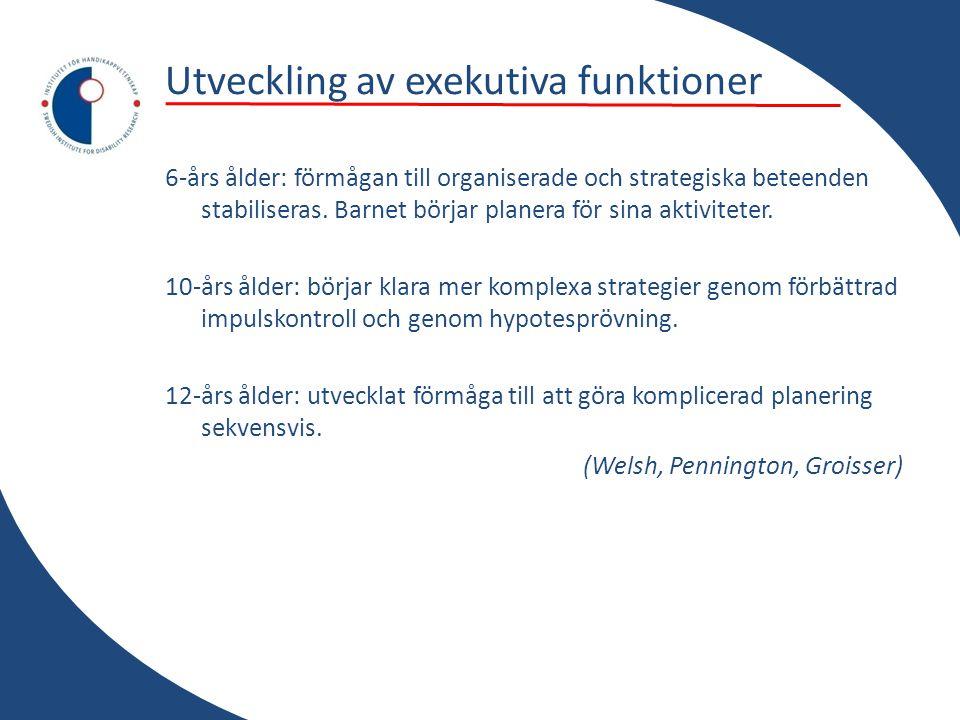 Utveckling av exekutiva funktioner 6-års ålder: förmågan till organiserade och strategiska beteenden stabiliseras. Barnet börjar planera för sina akti