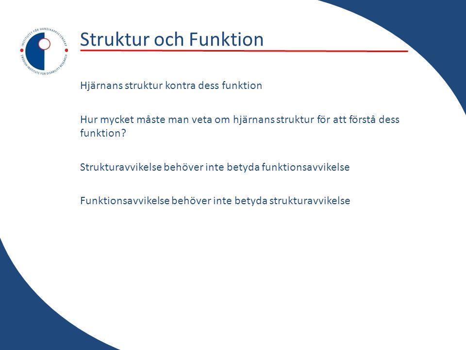 Struktur och Funktion Hjärnans struktur kontra dess funktion Hur mycket måste man veta om hjärnans struktur för att förstå dess funktion? Strukturavvi