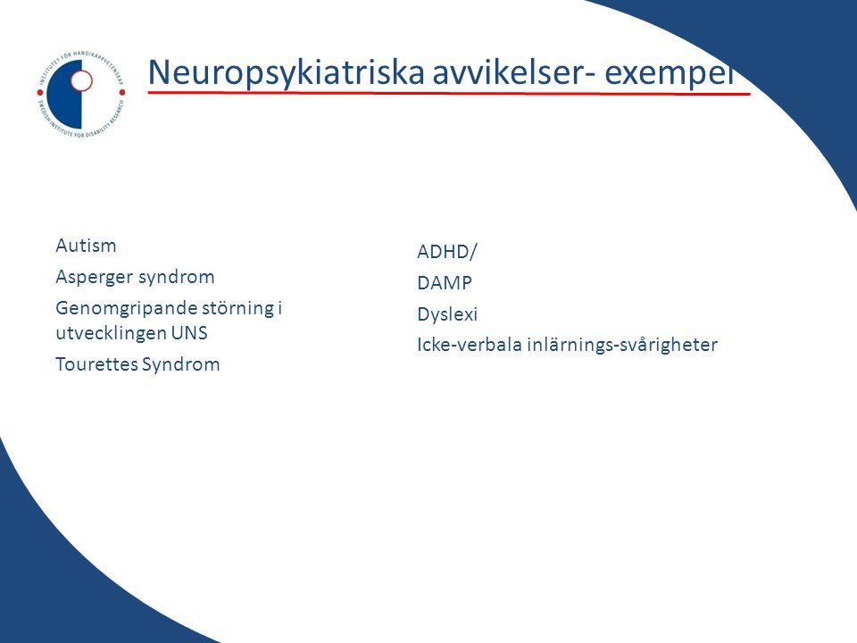Neuropsykiatriska avvikelser- exempel Autism Asperger syndrom Genomgripande störning i utvecklingen UNS Tourettes Syndrom ADHD/ DAMP Dyslexi Icke-verbala inlärnings-svårigheter