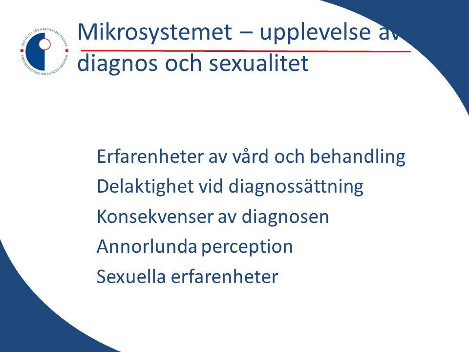 Mikrosystemet – upplevelse av diagnos och sexualitet Erfarenheter av vård och behandling Delaktighet vid diagnossättning Konsekvenser av diagnosen Annorlunda perception Sexuella erfarenheter