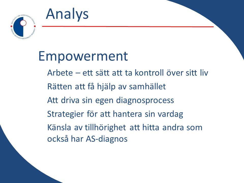 Analys Empowerment Arbete – ett sätt att ta kontroll över sitt liv Rätten att få hjälp av samhället Att driva sin egen diagnosprocess Strategier för att hantera sin vardag Känsla av tillhörighet att hitta andra som också har AS-diagnos
