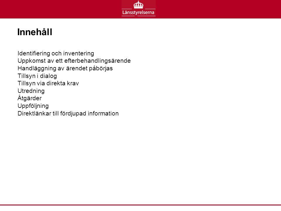 Naturvårdsverkets fördjupade information om: Bakgrund och syfte – Naturvårdsverkets utgångspunkter för efterbehandling (9 sidor) Övergripande åtgärdsmål (5 sidor) Undersökning och provtagning (3 sidor) Riskbedömning (6 sidor) Förenklad riskbedömning (1 sida) Generella riktvärden (7 sidor) Platsspecifika riktvärden (2 sidor) Fördjupad riskbedömning (2 sidor) Åtgärdsutredning (6 sidor) Riskvärdering (12 sidor) Mätbara åtgärdsmål (4 sidor) Information och kommunikation (1 sida) Dokumentation (1 sida) Utbildning om beräkningsprogrammet (ca XX min) (Yvonne fixar) Observera att du hittar fler länkar på nästa sida.