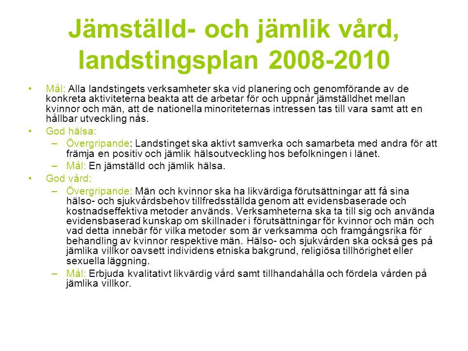 Jämställd- och jämlik vård, landstingsplan 2008-2010 Mål: Alla landstingets verksamheter ska vid planering och genomförande av de konkreta aktiviteter