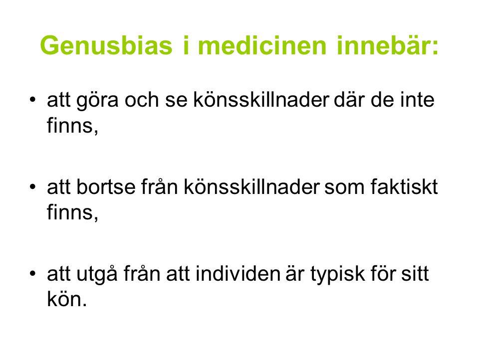 Genusbias i medicinen innebär: att göra och se könsskillnader där de inte finns, att bortse från könsskillnader som faktiskt finns, att utgå från att