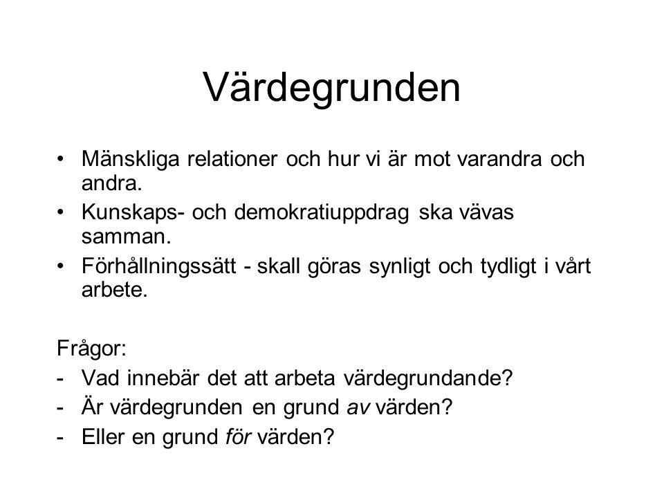 Ex Skolans värdegrund Vissa s k oförytterliga värden är inte förhandlingsbara - ex människors lika värde.