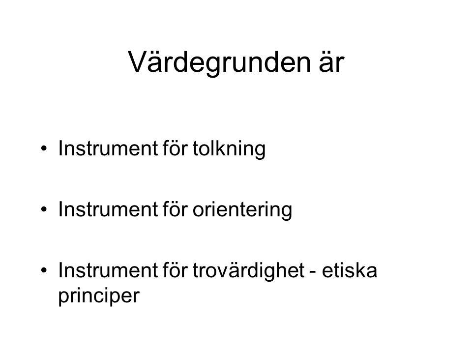 Värdegrunden är Instrument för tolkning Instrument för orientering Instrument för trovärdighet - etiska principer
