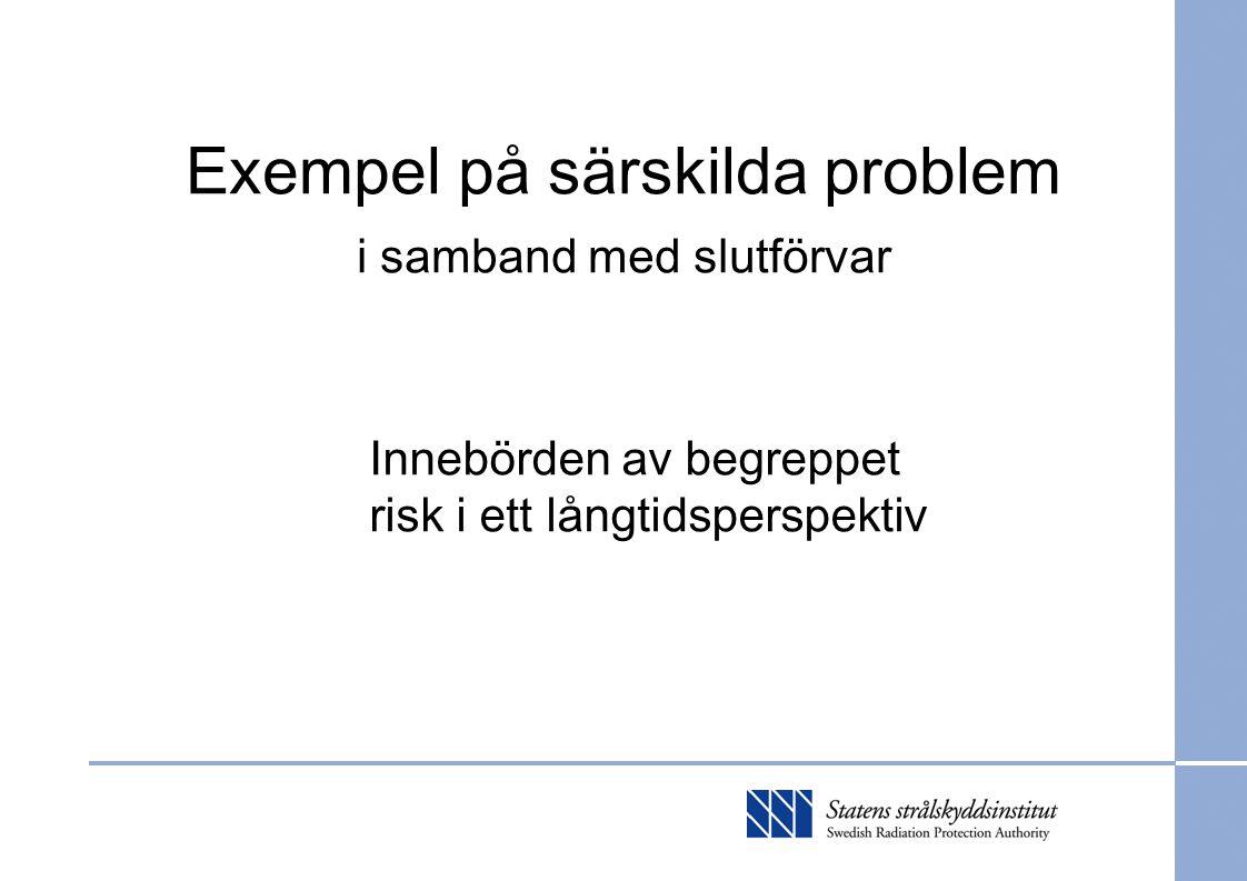 Exempel på särskilda problem i samband med slutförvar Innebörden av begreppet risk i ett långtidsperspektiv