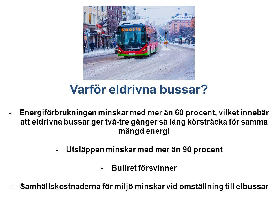 Varför eldrivna bussar? -Energiförbrukningen minskar med mer än 60 procent, vilket innebär att eldrivna bussar ger två-tre gånger så lång körsträcka f