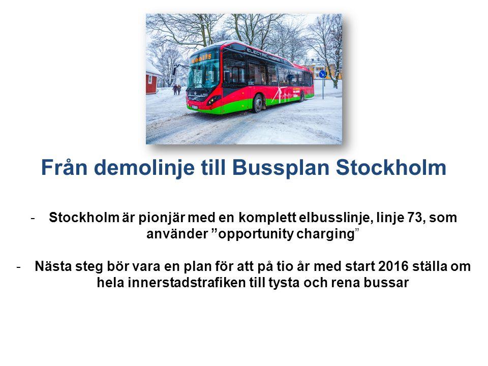 Från demolinje till Bussplan Stockholm -Stockholm är pionjär med en komplett elbusslinje, linje 73, som använder opportunity charging -Nästa steg bör vara en plan för att på tio år med start 2016 ställa om hela innerstadstrafiken till tysta och rena bussar