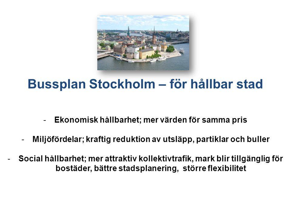 Bussplan Stockholm – för hållbar stad -Ekonomisk hållbarhet; mer värden för samma pris -Miljöfördelar; kraftig reduktion av utsläpp, partiklar och buller -Social hållbarhet; mer attraktiv kollektivtrafik, mark blir tillgänglig för bostäder, bättre stadsplanering, större flexibilitet