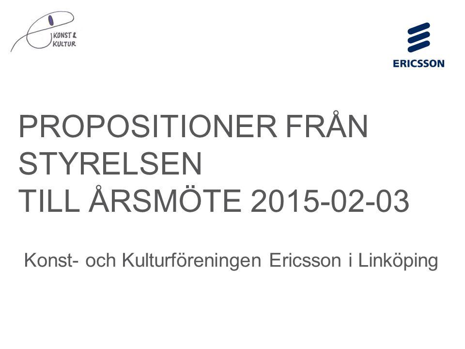 Slide title minimum 48 pt Slide subtitle minimum 30 pt PROPOSITIONER FRÅN STYRELSEN TILL ÅRSMÖTE 2015-02-03 Konst- och Kulturföreningen Ericsson i Linköping
