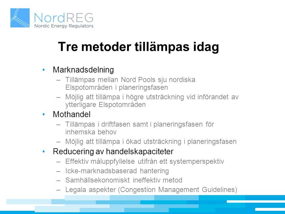 Tre metoder tillämpas idag Marknadsdelning –Tillämpas mellan Nord Pools sju nordiska Elspotområden i planeringsfasen –Möjlig att tillämpa i högre utst