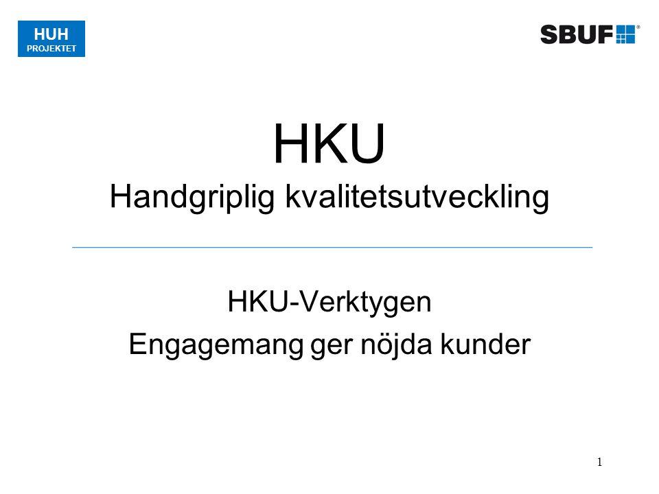 HUH PROJEKTET 1 HKU Handgriplig kvalitetsutveckling HKU-Verktygen Engagemang ger nöjda kunder
