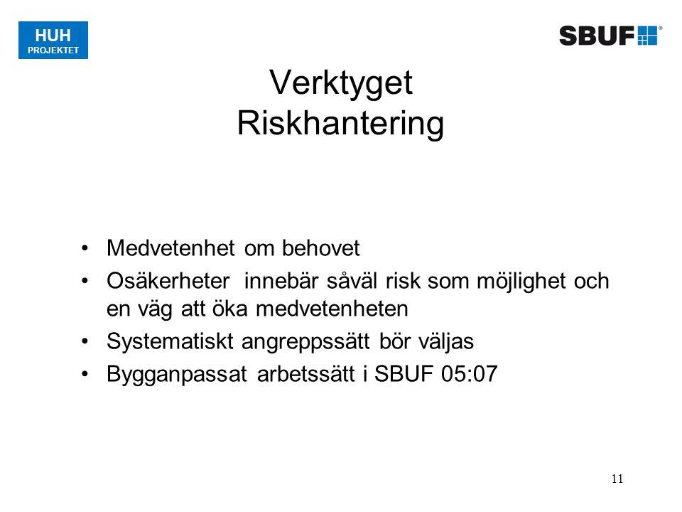 11 Verktyget Riskhantering Medvetenhet om behovet Osäkerheter innebär såväl risk som möjlighet och en väg att öka medvetenheten Systematiskt angreppss