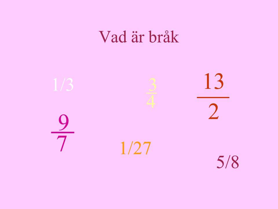 Vad är bråk 1/3 5/8 1/27 3 _ 4 9 7 13 2