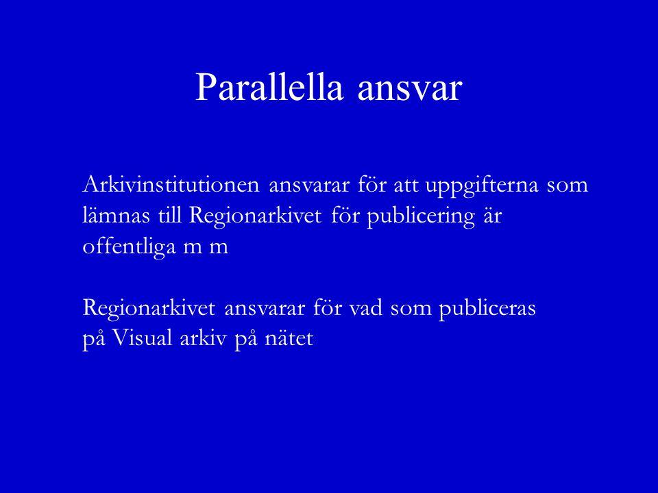 Parallella ansvar Arkivinstitutionen ansvarar för att uppgifterna som lämnas till Regionarkivet för publicering är offentliga m m Regionarkivet ansvarar för vad som publiceras på Visual arkiv på nätet