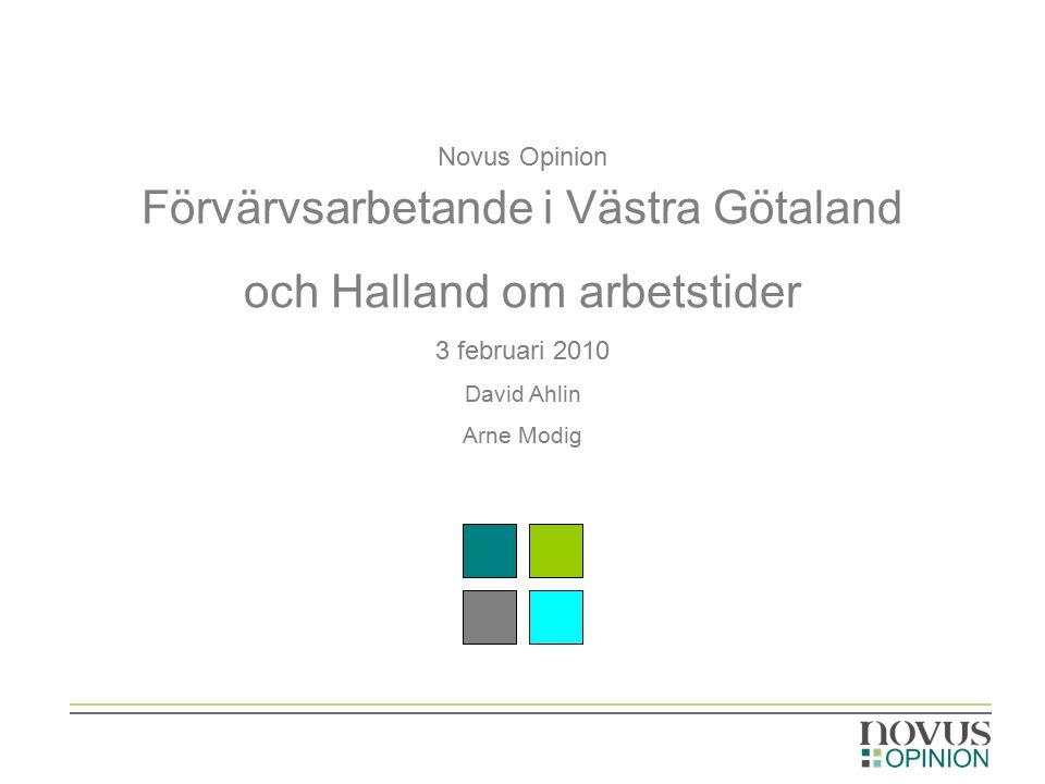 Novus Opinion Förvärvsarbetande i Västra Götaland och Halland om arbetstider 3 februari 2010 David Ahlin Arne Modig