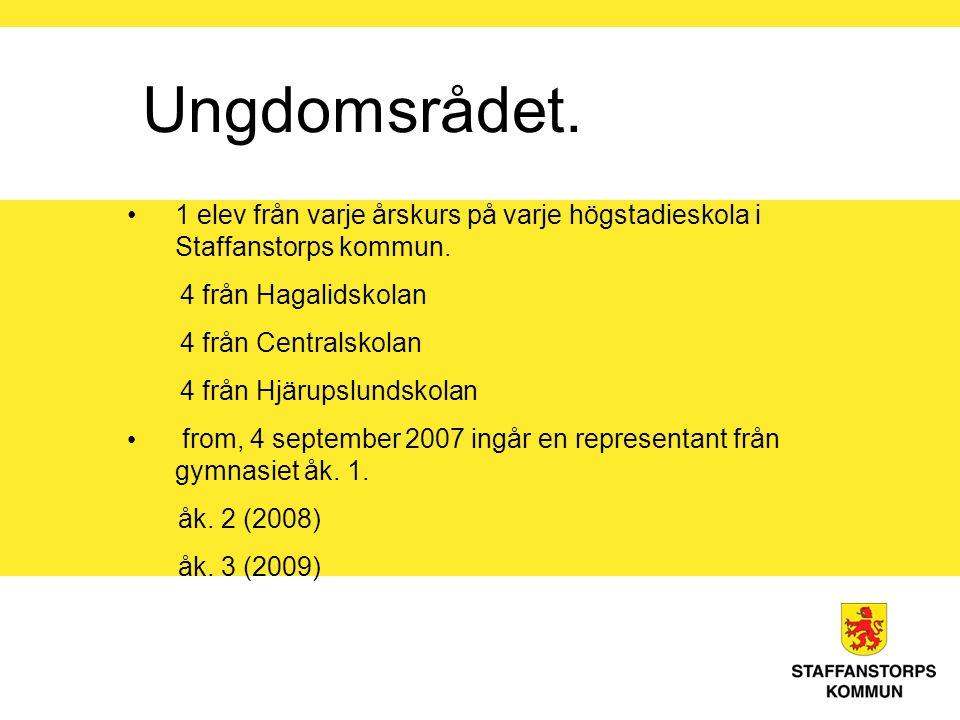 Ungdomsrådet. 1 elev från varje årskurs på varje högstadieskola i Staffanstorps kommun.