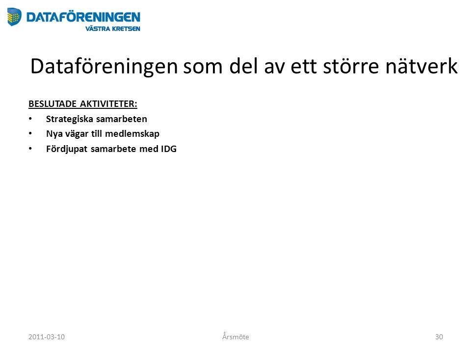 Dataföreningen som del av ett större nätverk BESLUTADE AKTIVITETER: Strategiska samarbeten Nya vägar till medlemskap Fördjupat samarbete med IDG 2011-03-10Årsmöte30