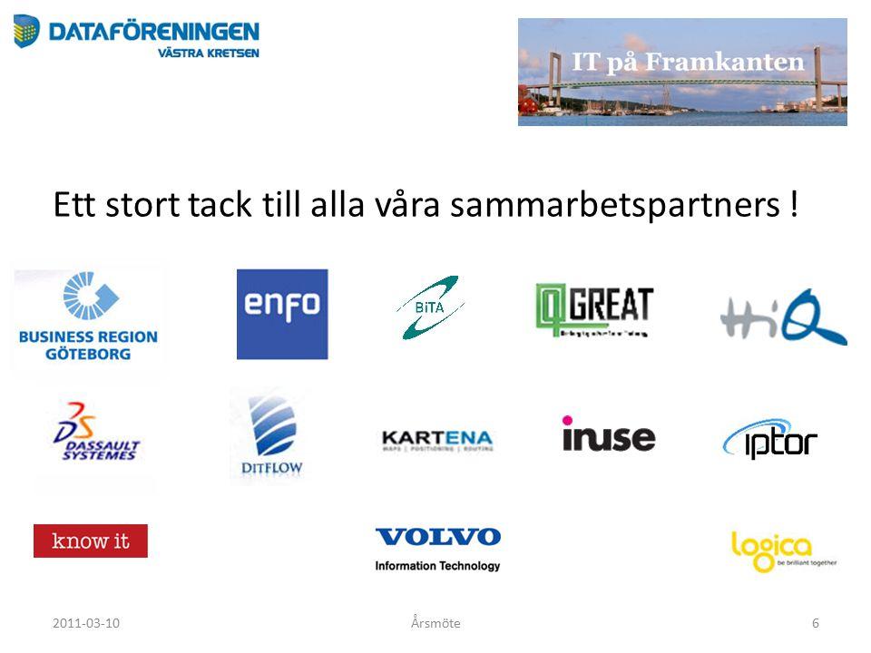 Ett stort tack till alla våra sammarbetspartners ! 2011-03-10Årsmöte6