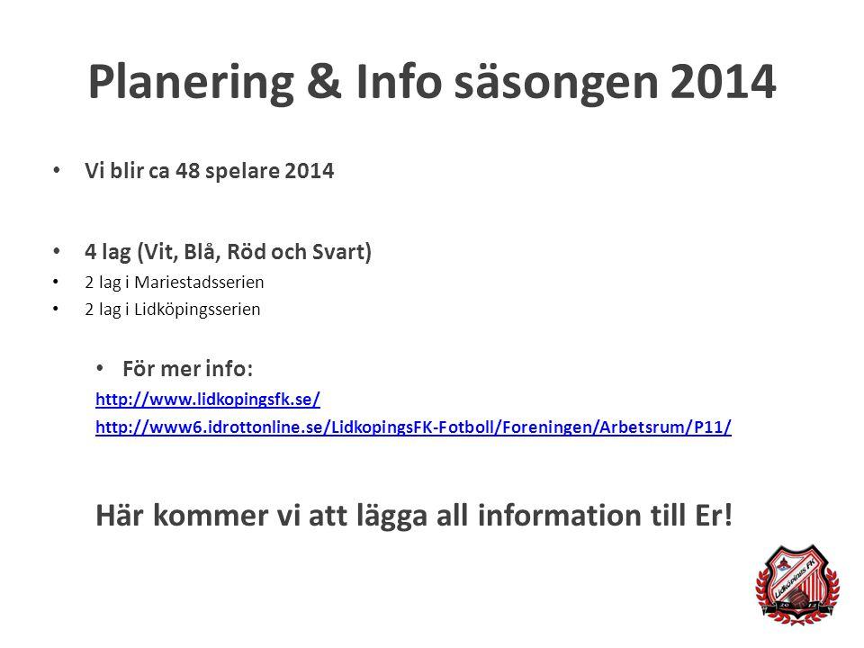 Planering & Info säsongen 2014 Vi blir ca 48 spelare 2014 4 lag (Vit, Blå, Röd och Svart) 2 lag i Mariestadsserien 2 lag i Lidköpingsserien För mer info: http://www.lidkopingsfk.se/ http://www6.idrottonline.se/LidkopingsFK-Fotboll/Foreningen/Arbetsrum/P11/ Här kommer vi att lägga all information till Er!