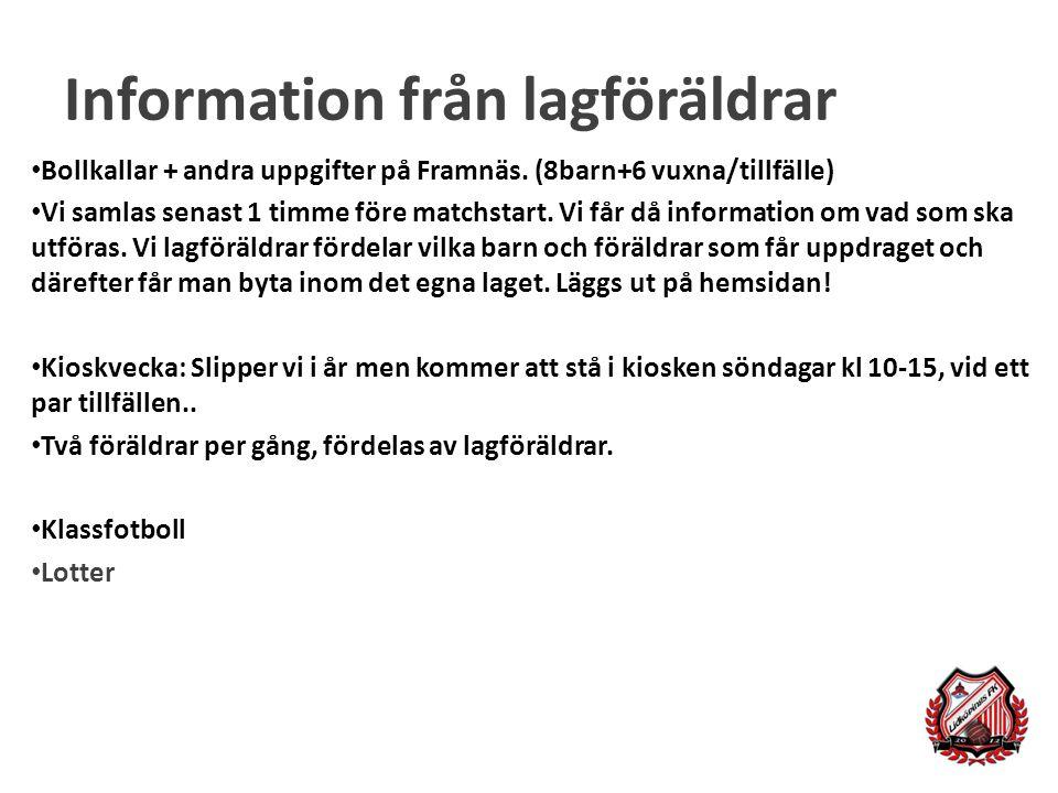 Information från lagföräldrar Bollkallar + andra uppgifter på Framnäs.