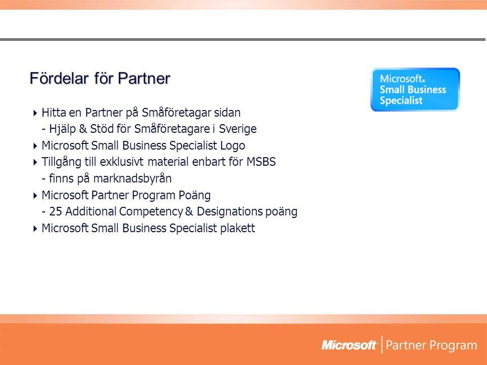 Fördelar för Partner  Hitta en Partner på Småföretagar sidan - Hjälp & Stöd för Småföretagare i Sverige  Microsoft Small Business Specialist Logo 