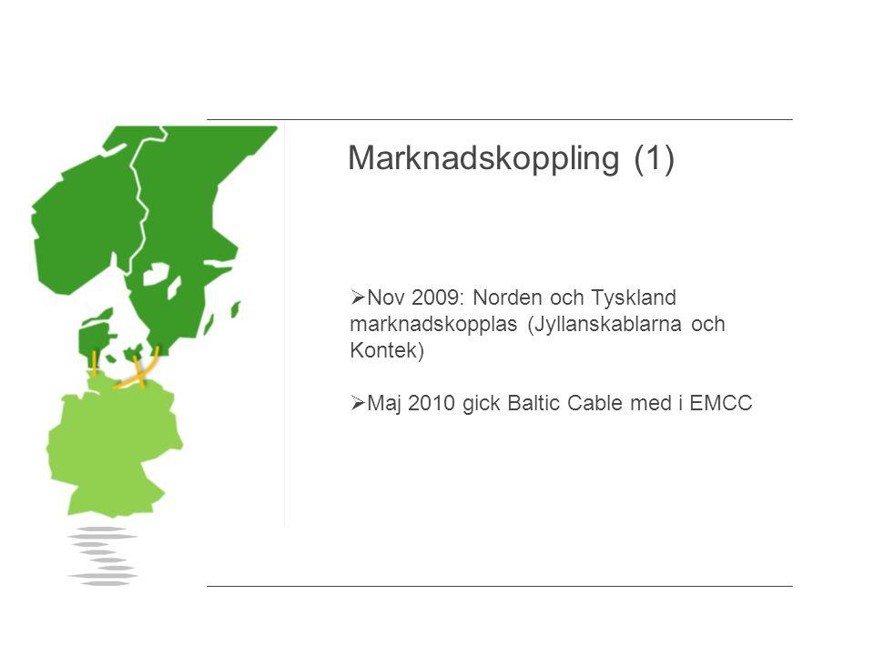  Nov 2009: Norden och Tyskland marknadskopplas (Jyllanskablarna och Kontek)  Maj 2010 gick Baltic Cable med i EMCC Marknadskoppling (1)