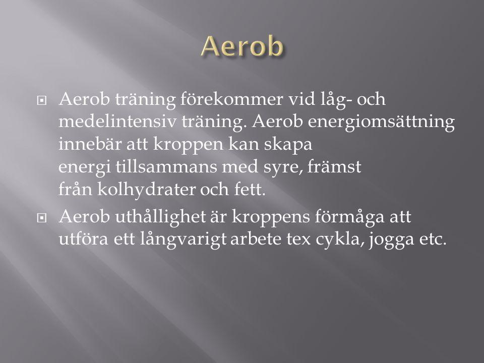  Aerob träning förekommer vid låg- och medelintensiv träning.