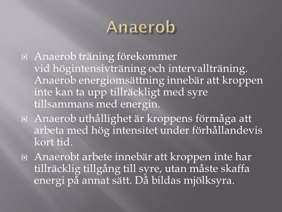  Anaerob träning förekommer vid högintensivträning och intervallträning.
