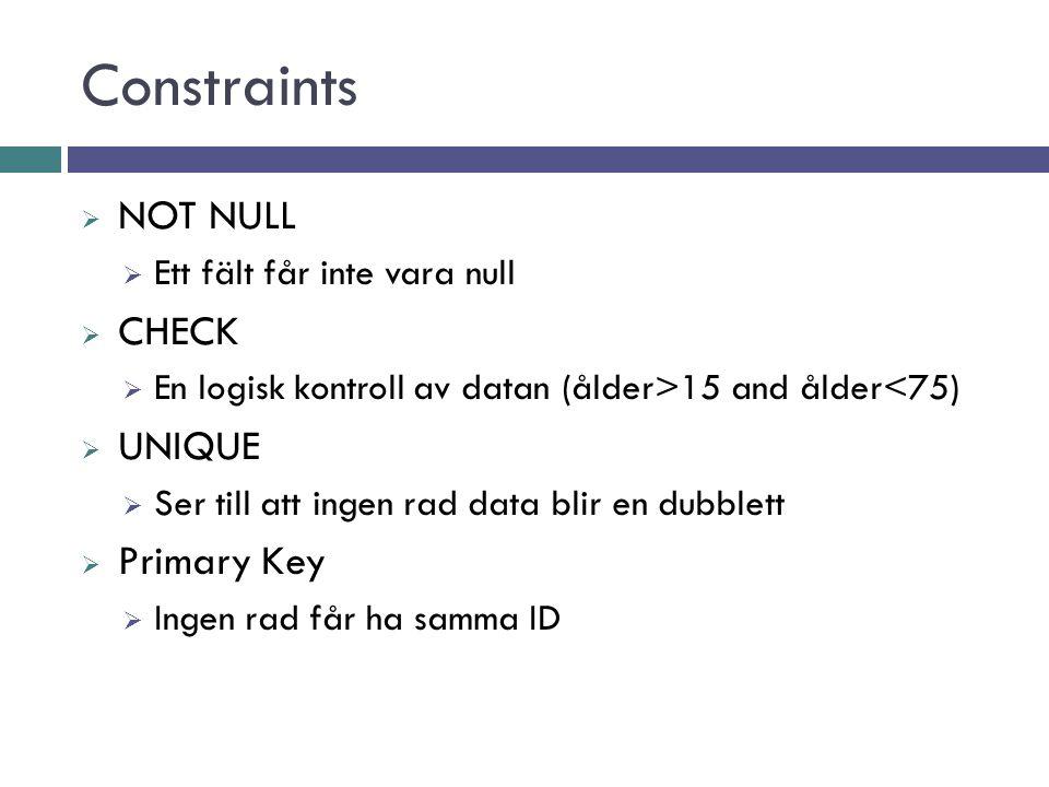 Constraints  Foreign key  FK Nyckeln måste finnas innan raden får skapas  Default  Ser till att kolumnen får ett standardvärde om inget anges  Se även: http://www.w3schools.com/sql/sql_constraints.asp
