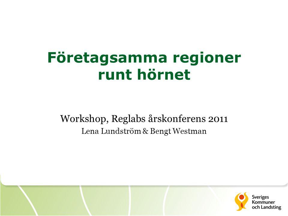 Företagsamma regioner runt hörnet Workshop, Reglabs årskonferens 2011 Lena Lundström & Bengt Westman