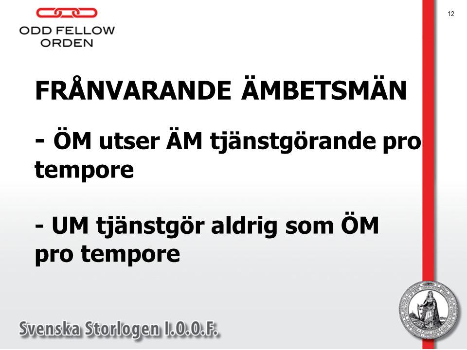 FRÅNVARANDE ÄMBETSMÄN 12 - ÖM utser ÄM tjänstgörande pro tempore - UM tjänstgör aldrig som ÖM pro tempore