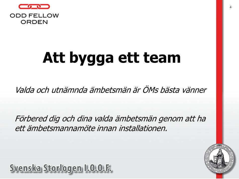 4 Att bygga ett team Valda och utnämnda ämbetsmän är ÖMs bästa vänner Förbered dig och dina valda ämbetsmän genom att ha ett ämbetsmannamöte innan installationen.